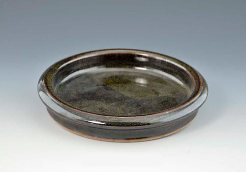 "Handmade Pottery Round Brie Baker 6.5"" in Ebony Glaze"