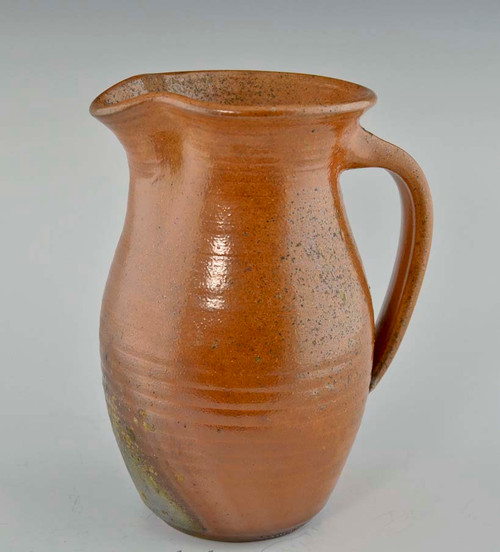 """Wood-Fired Glazed Pitcher 7.25"""" in Terracotta Color"""