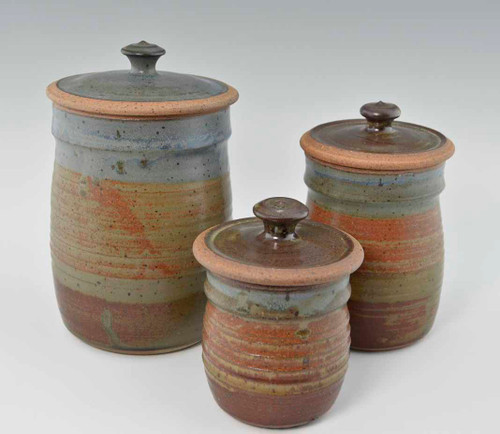 Handmade Pottery Canister Set in Oasis Glaze