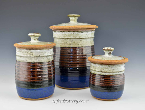 Handmade Pottery Canister Set in Storm Glaze