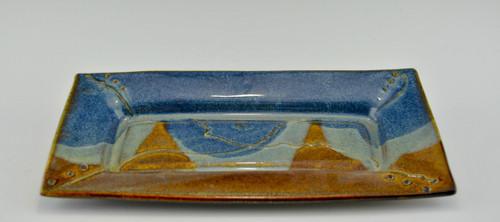 Handmade Stoneware Rectangular Cracker Tray in Ocean Blue Glaze