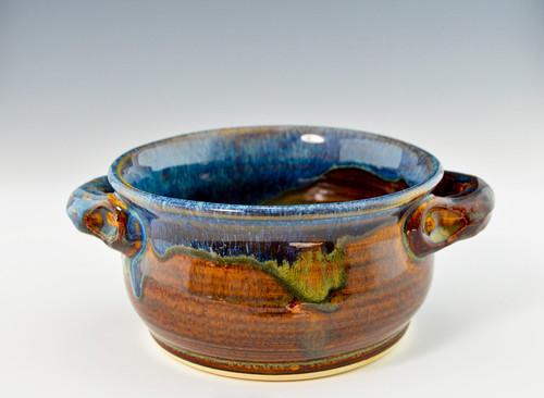 Handmade Stoneware Chili / Soup Bowl w Handles, Blue Brown Glaze
