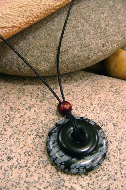 Destiny Duo Stone Pendant - Obsidian & Black Jasper