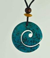 "Celtic Spirals Pendant Stone Jewelry - African ""Turquoise"" Jasper"