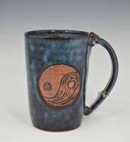 Pottery Mug with a Saying - Yin Yang - Blue - 14 oz.