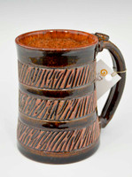 Pottery Mug with a Saying -Brown Band with Brown Striped Base