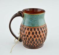 Pottery Mug with a Saying - Teal w Brown Banded Base 14 oz