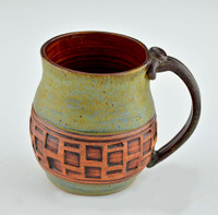 Pottery Mug with a Saying - Green with Brown Windows 14 oz