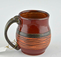 Pottery Mug with a Staying - Red with Striped Brown Middle Band 14 oz