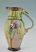 "Handmade Pottery Pitcher 11"" x 4.75"", Green w Brown Tenmoku"