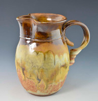"Handmade Water / Milk Pitcher 7.75"" in Caramel Brown over Southwest Glaze"
