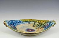 "Handmade Pottery Oval Server w Handles, 12"" x 9"", Green / Blue Glaze"