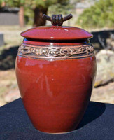 Large Red Treasure Jar w Lid
