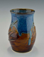 Stoneware Pottery Utensil Holder in Ocean Blue Glaze