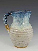 "Pitcher 8"" with Braided Handle in Carolina Sky Glaze, 56 oz"