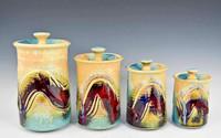 Handmade Porcelain 4 Pc. Canister Set in Blue Crystal Glaze