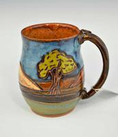 Pottery Mug with a Saying - Tree Landscape
