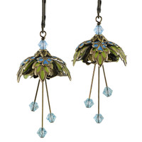 Flower Fairy Earrings - Forest Fairy Gold, Turquoise and Lime