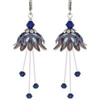 Flower Fairy Earrings - Daisy Oracle Silver, Navy and Lt Blue