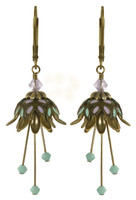 Flower Fairy Earrings - Daisy Oracle Gold, Lavender and Mint
