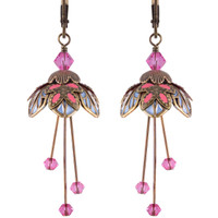 Flower Fairy Earrings - Titania Baby Blue, Pearl and Pink