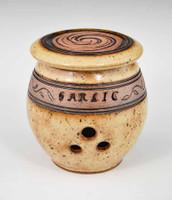 Handmade Pottery Banded Garlic Holder in Gold
