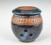 Handmade Pottery Banded Garlic Keeper in Blue