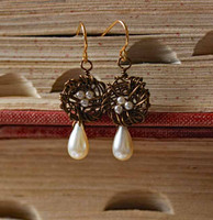 Flowering Nest Earrings with Glass Pearls