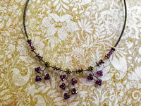 Amethyst Concerto Crystal Necklace w Magnetic Closure