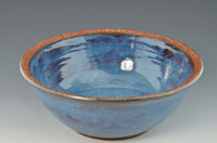 "Handmade Pottery 10.5"" Bowl in Smoky Bright Blue"