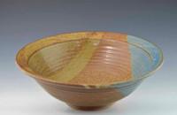 "Handmade Pottery Medium Bowl 11"" Oasis Glaze"