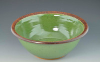 "Handmade Pottery 10.5"" Serving Bowl in Fresh Green"