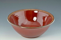 """Handmade Pottery 10.5"""" Serving Bowl in Deep Red"""