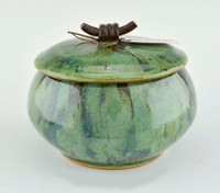 Medium Green Treasure Jar w Lid
