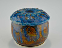 Treasure Jar with Lid in Ocean Blue Glaze