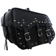 "16"" W x 12"" H WATERPROOF STUDDED SADDLEBAGS w/ ZIP-OFF"