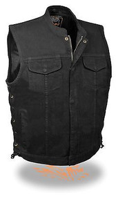 MENS BLACK DENIM MOTORCYCLE VEST W/ LACES - SA39