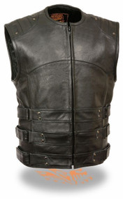 MENS MOTORCYCLE SWAT TACTICAL STYLE BLACK LEATHER VEST - SA37
