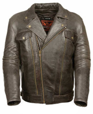 MENS RETRO BROWN UTILITY POCKET LEATHER JACKET- SA43