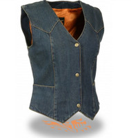 LADIES DENIM VEST w/ 3 SNAP FRONT - SA58