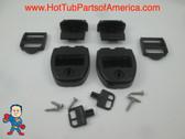 (2) Spa Hot Tub Cover Latch Strap Repair Kit & Key Hot Spring Caldera Video How To