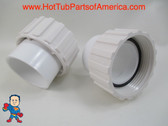 """Set of (2) Hot Tub Spa 1 1/2"""" Slip X 1 1/2"""" Pump Union with Gasket Video How To"""
