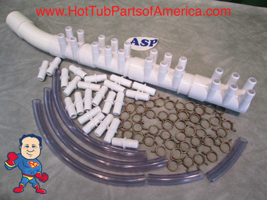 """Manifold Hot Tub Spa Part 22 3/4"""" Outlets with Coupler Kit with Video How To"""