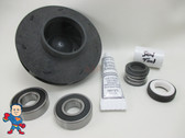 "Impeller & Seal (2) Bearing Kit Aqua-Flo XP2 4.0 HP 2 1/8"" Eye with 1/2"" Vane Width 4 1/2"" OD 230V 14Amp"
