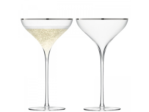 LSA Savoy Champagne Saucers Platinum 250ml (Set Of 2)