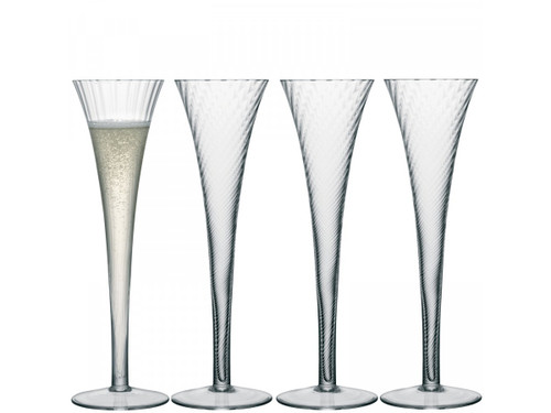 LSA Aurelia Champagne Flutes Clear Optic 200ml (Set of 4)