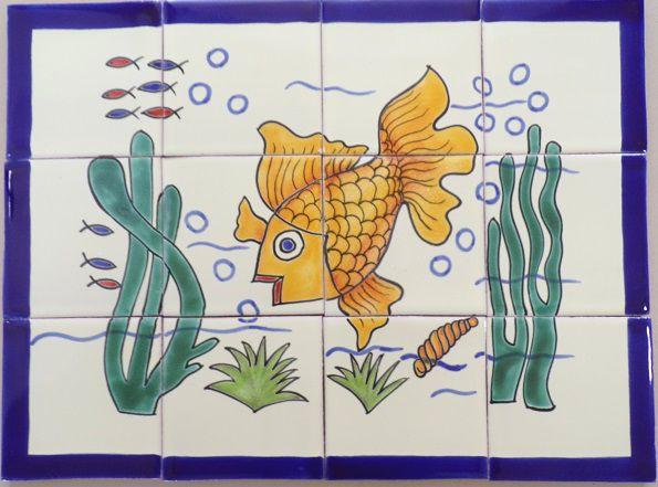 Pececillo de Color 12 4x4 tile mural.