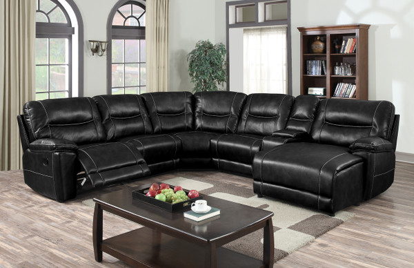 694200 Black leather gel with contrast stitching. Two recliners and one push back chaise. Pocket coil seating.