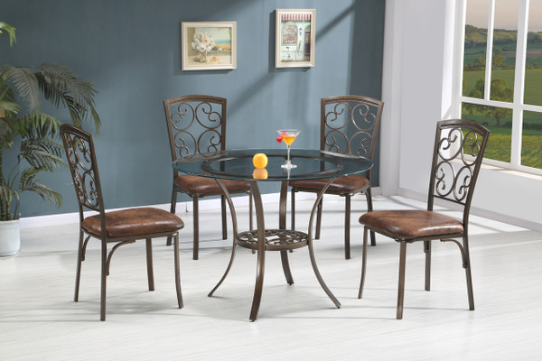"45"" Round glass top dining table and 4 chairs"