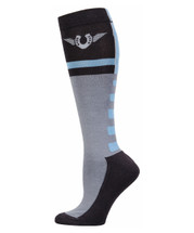TuffRider Impulsion Knee Hi Socks with Neon Accents - Neon Blue